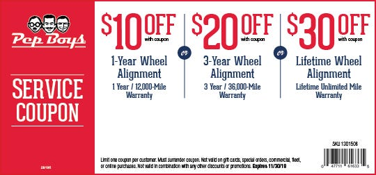 Printable Coupons - UP TO $30 OFF WHEEL ALIGNMENT | Pep Boys