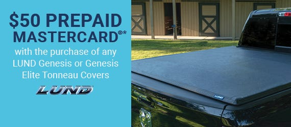 $50 Prepaid Mastercard®* with purchase of any Lund Genesis or Genesis Elite Tonneau Covers