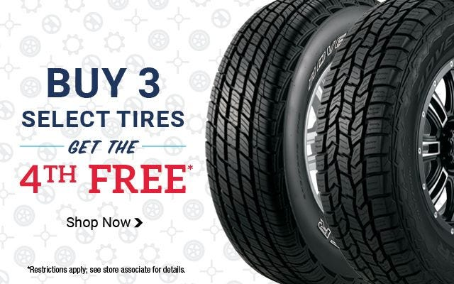 Buy Three tires, get the Fourth free Instantly