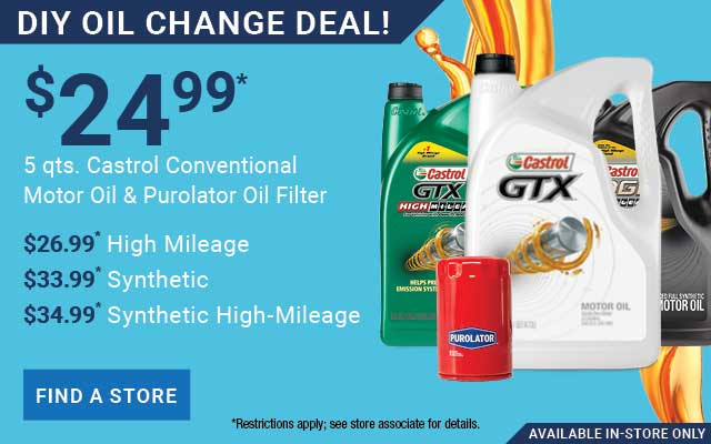 24.99 DIY Oil Change Deal Castrol Conventional