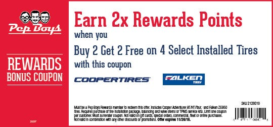 2 Get Free On 4 Select Installed Tires