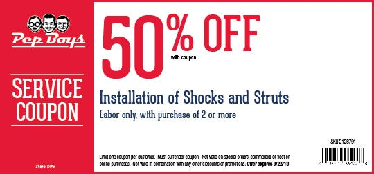 Online Printable Coupons 50 Off Installation Of Shocks And Struts